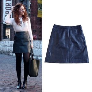 TopShop navy blue faux leather a-line mini skirt 6